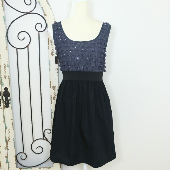 Xhilaration Dresses & Skirts - Black and grey dress with sequins on top large
